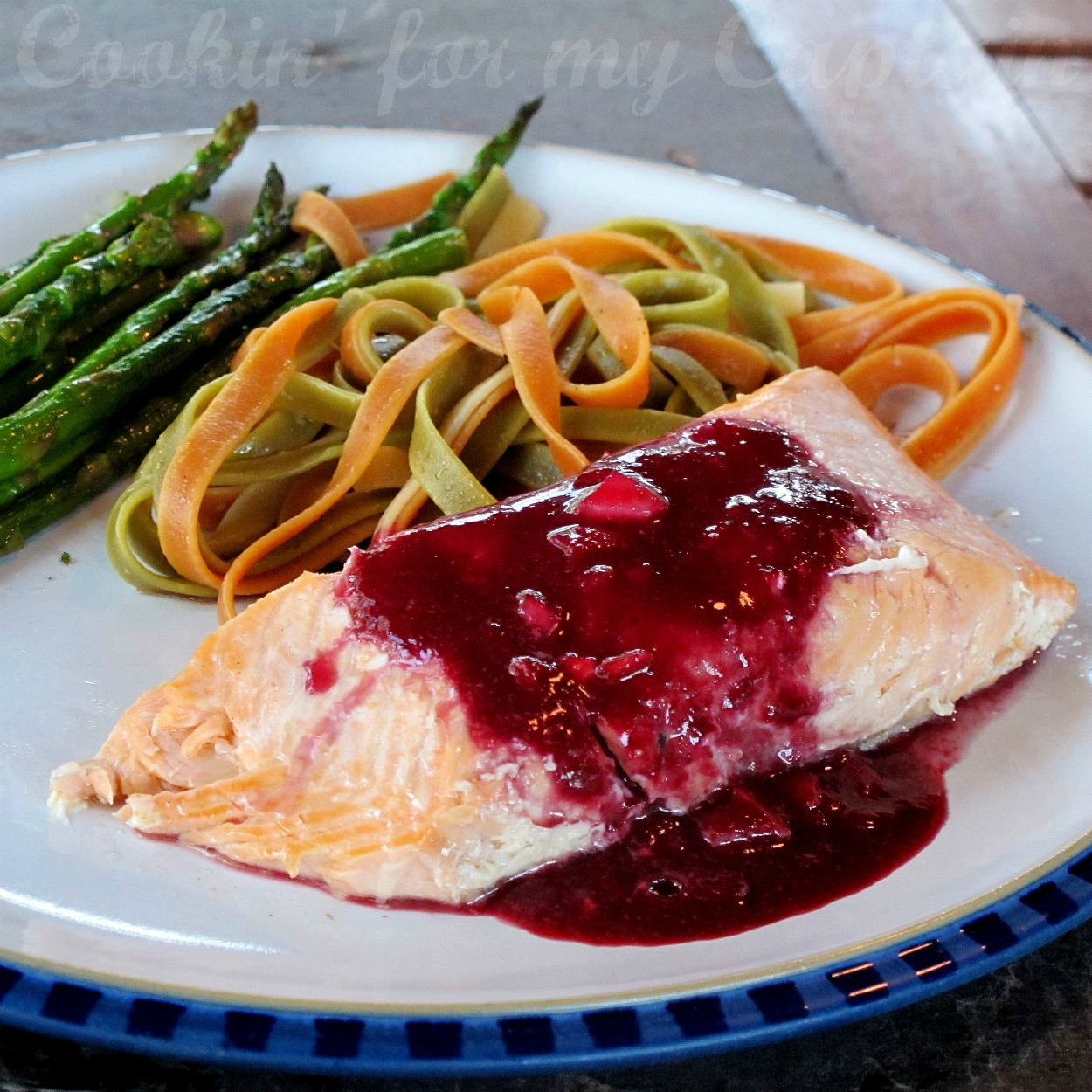 Cookin' for my Captain: Grilled Salmon with Blueberry Sauce
